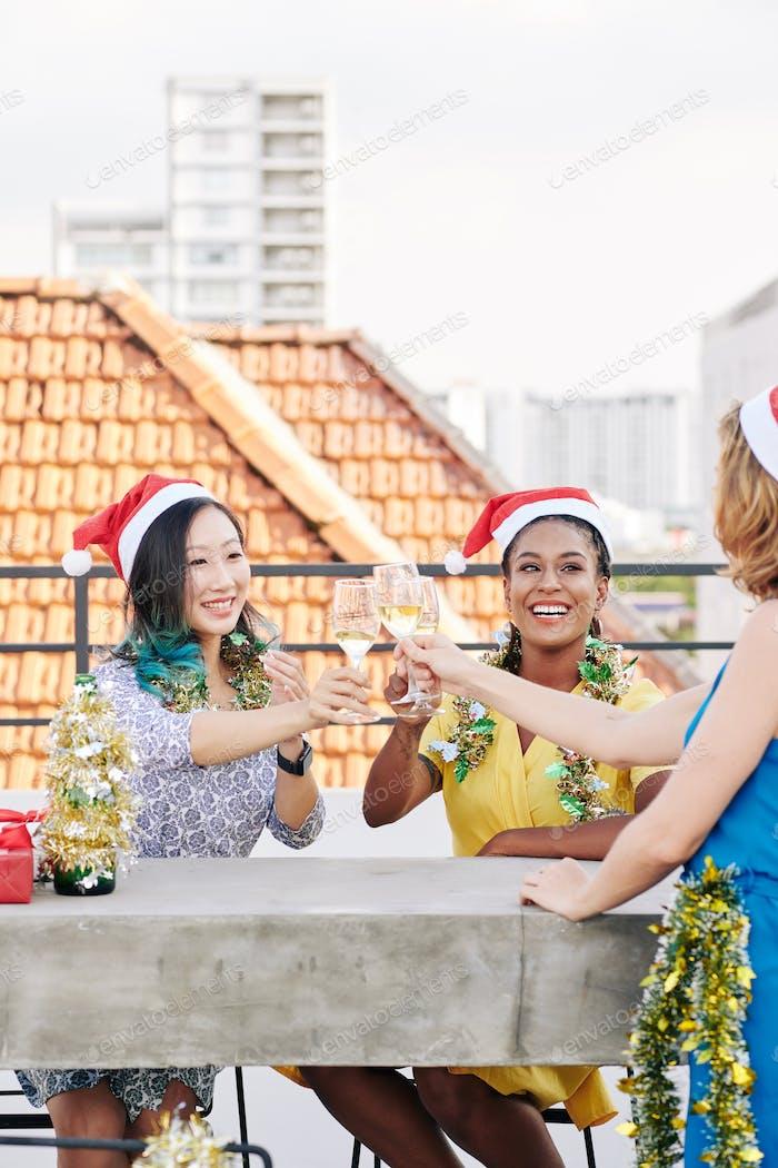 Pretty women celebrating Christmas