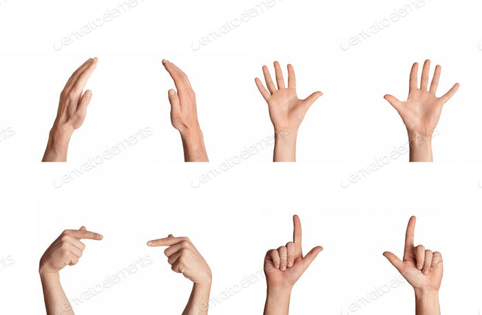 Collage with multitude of male hands showing variety of sign language gestures, isolated on white