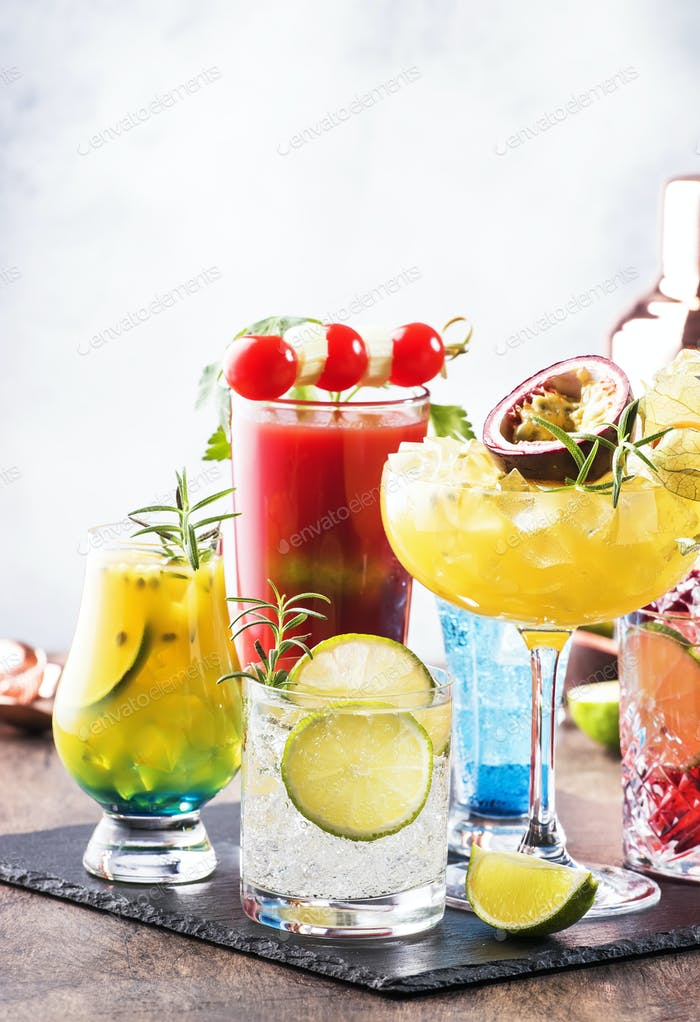 Selection of summer alcoholic cocktails