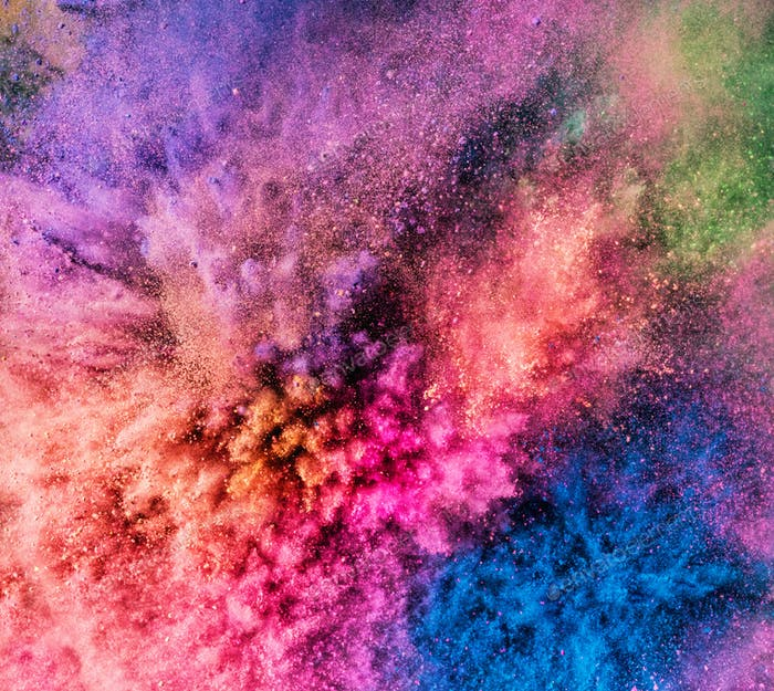Holi powder bursting up, creating exploding texture.