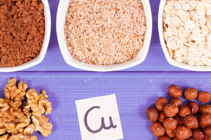 Natural ingredients as source copper, minerals and dietary fiber