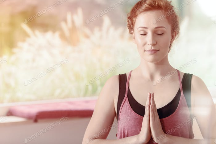 Beautiful woman during meditation