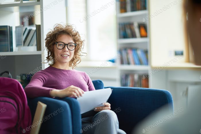 Woman studying at college