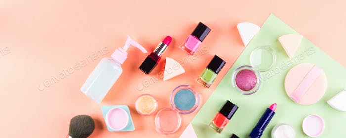 Beauty make up accessories on pink background