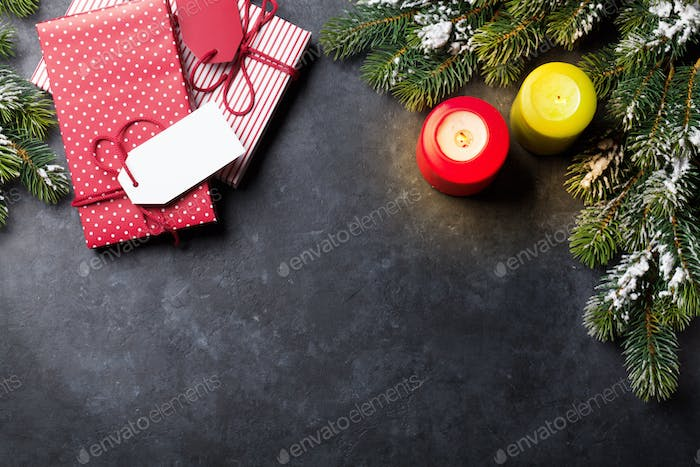 Christmas candles, gift boxes