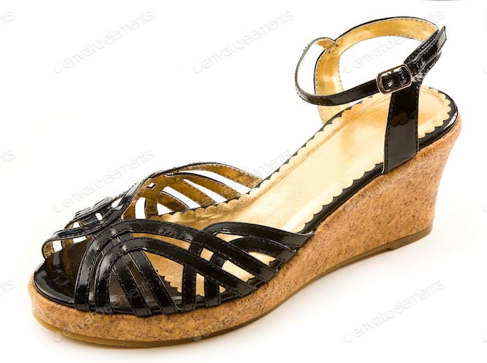 Black patent leather cork wedged sandal