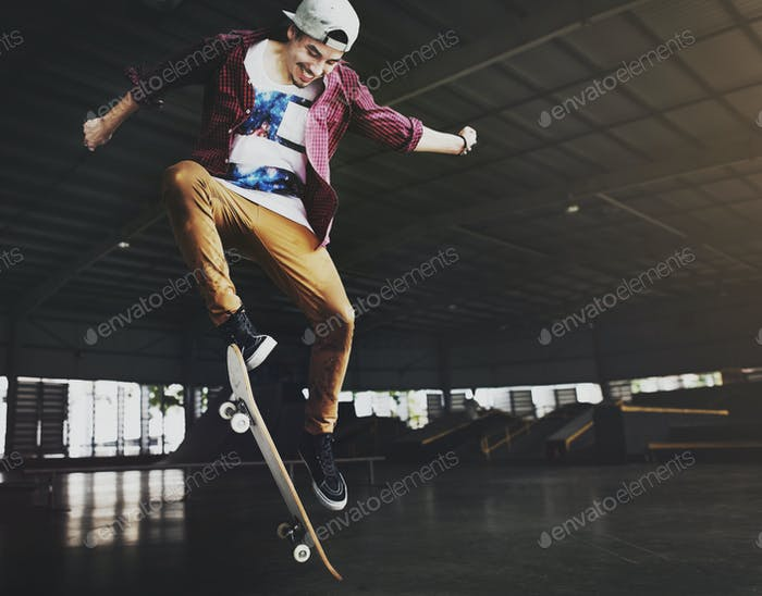 Young man skateboarding shoot