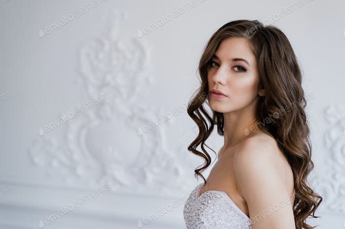 Young beautiful bride standing in antique interior ornamental design done with a moldings. Studio