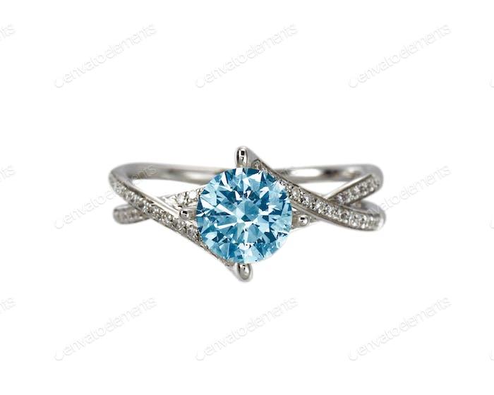 Blue Diamond engagement wedding ring