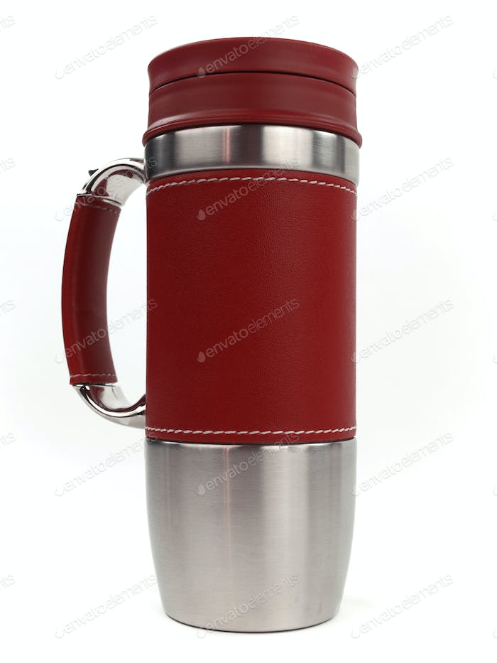 Deluxe red coffee cup standing up