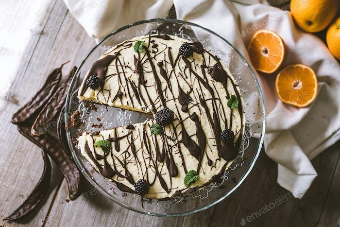 Vegan orange cake with carob