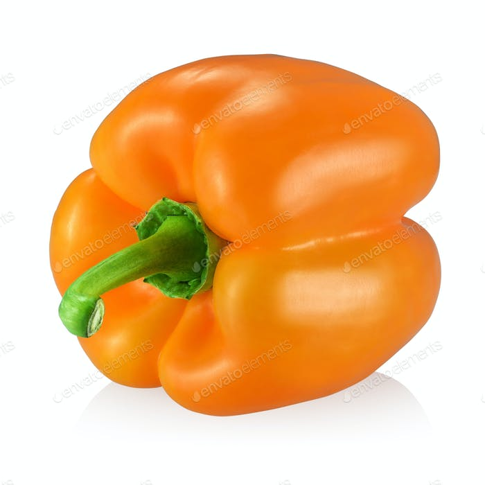 Orange bell pepper isolated on white background.