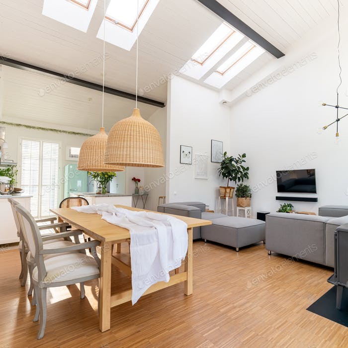 Open space living and dining room interior