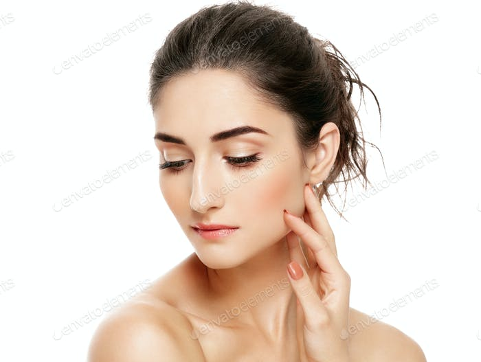 Woman Model Clean Fresh Perfect Healthy Skin. Age Health Concept. Beauty  Portrait isolated on white