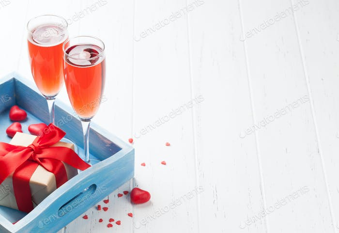 Valentine's day greeting card with champagne