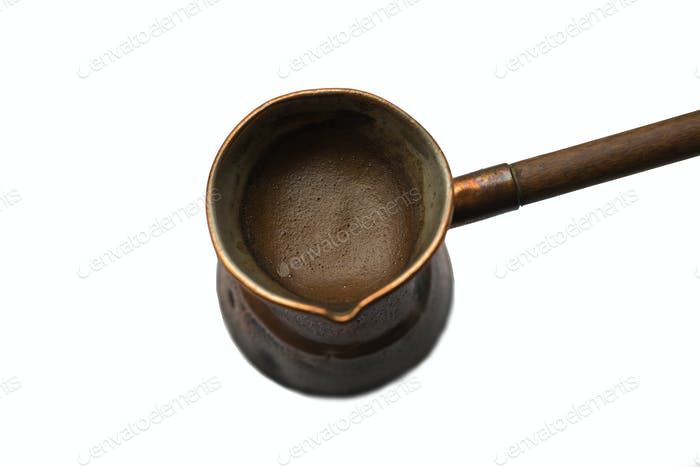 Coffee pot with a long handle. Isolated on a white background.