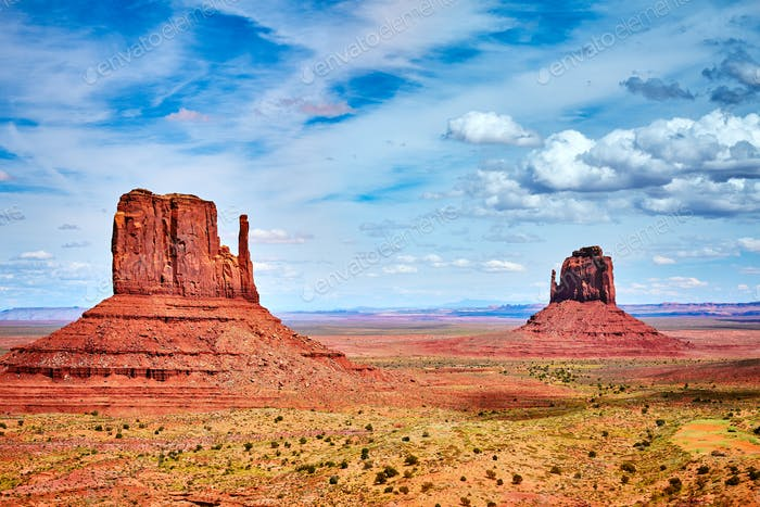 Iconic buttes in the Monument Valley, USA.