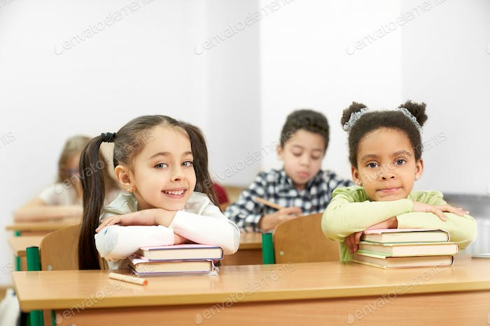Two charming students sitting at table in school and posing