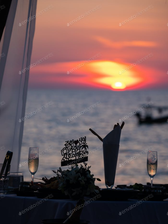 Dinner table at the beach