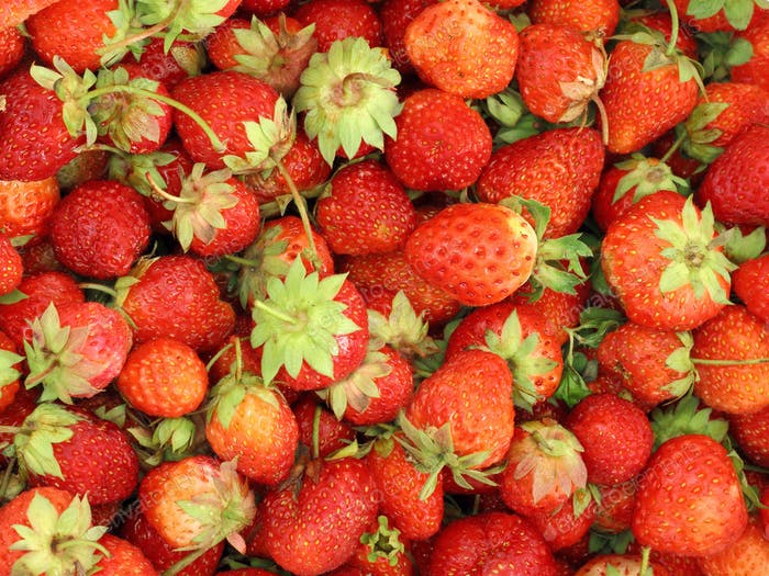 background of fresh strawberries
