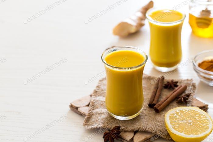 drink Turmeric tea for the treatment of coronavirus. Spicy healthy Haldi