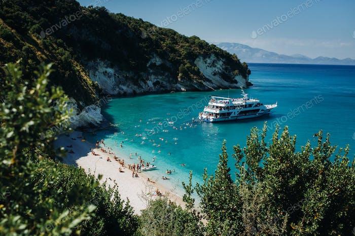 Vista de la hermosa playa de Xigia. playa en la isla de Zakynthos.  Grecia