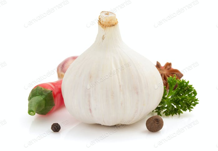 garlic spice isolated on white
