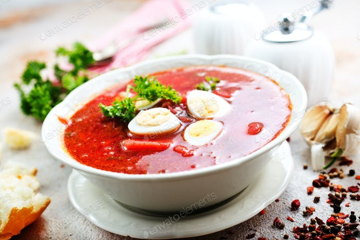 Traditional Ukrainian borsch