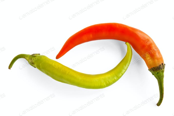 Green and orange hot pepper