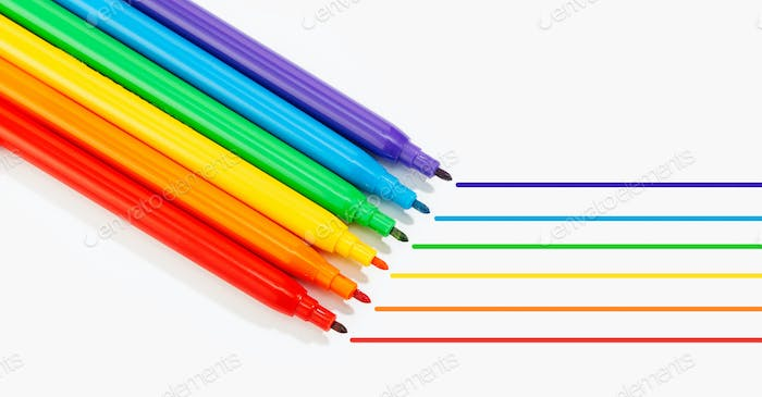 Banner of colorful markers and lines isolated on white background