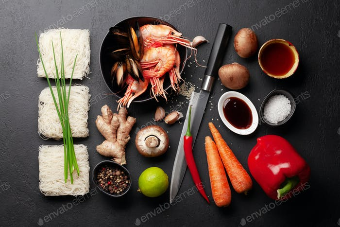 Ingredients for wok cooking