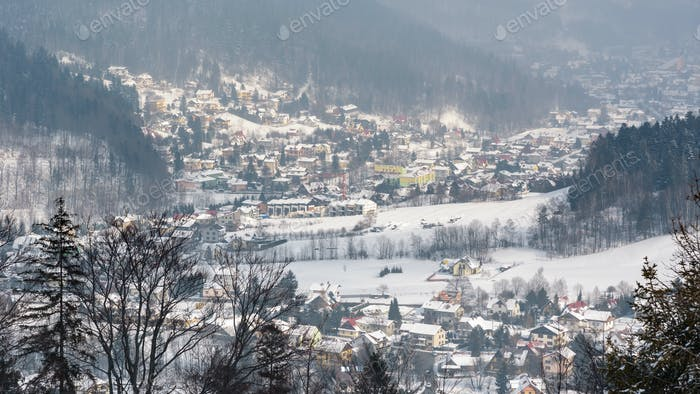 Panoramic view of Szczyrk town in winter