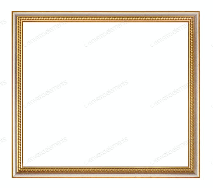 empty classic golden wooden picture frame