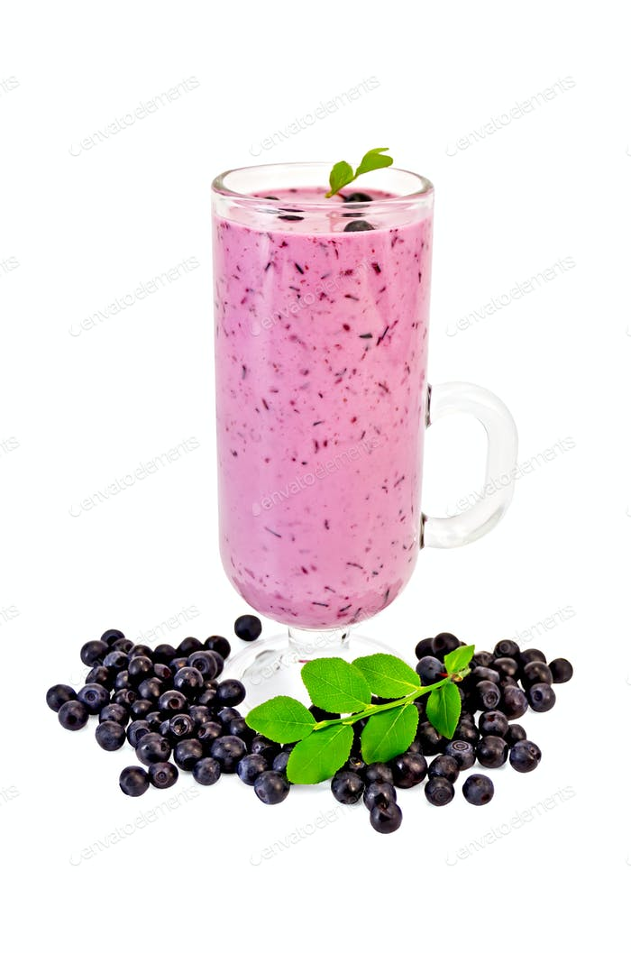 Milkshake with blueberries in a wineglass