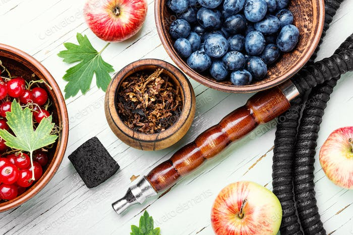 Hookah with with berries and apple