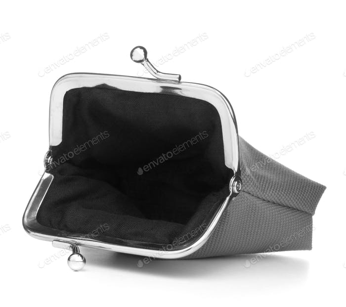 grey cash wallet isolated on white background. Charge purse. Open empty coin wallet.