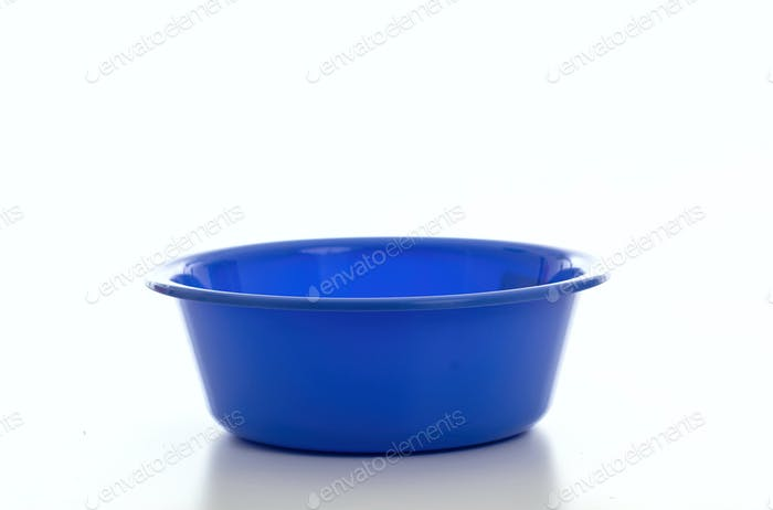 Cleaning washbowl blue color isolated against white background,