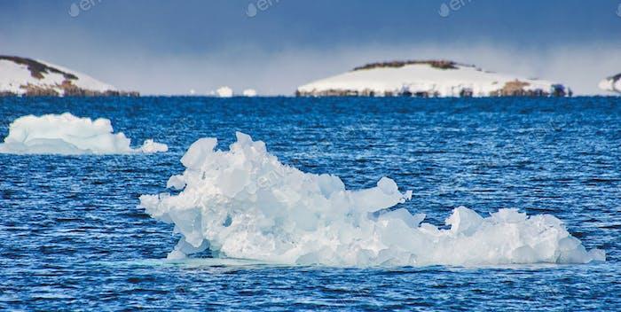 Iceberg, Blue Ice floes, Drift floating Ice, Arctic, Svalbard, Norway