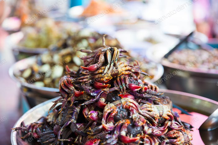 Pickled Crabs For Sale At Local Thai Street Market