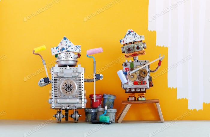 Painter decorator robots ready for interior improvement.