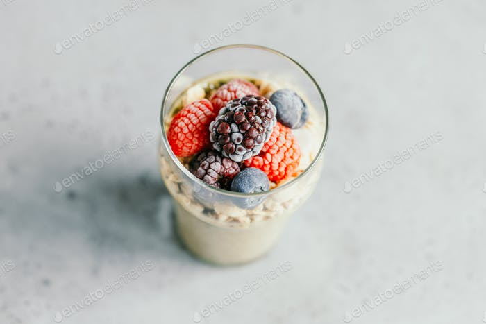 Top view on portion of chia pudding