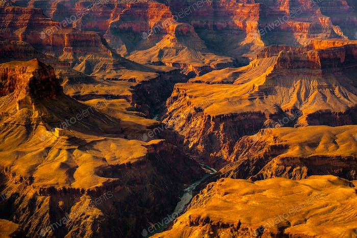 Landscape detail view of Grand canyon and Colorado river, USA