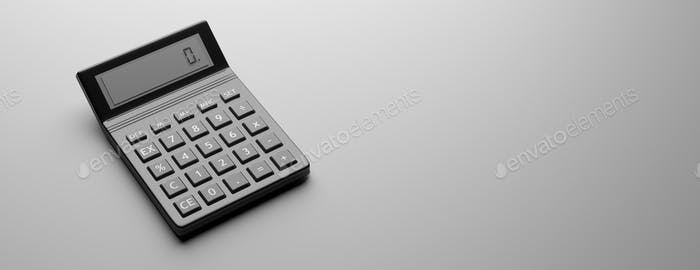 Calculator, black color against gray background, 3d illustration