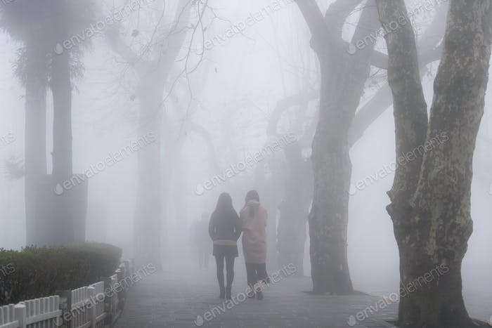 cool street in fog, lushan mountain landscape, jiangxi province, China