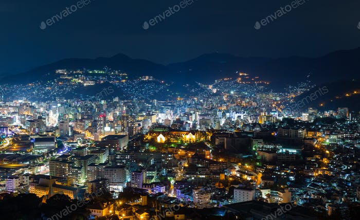 Nagasaki skyline in Japan at night