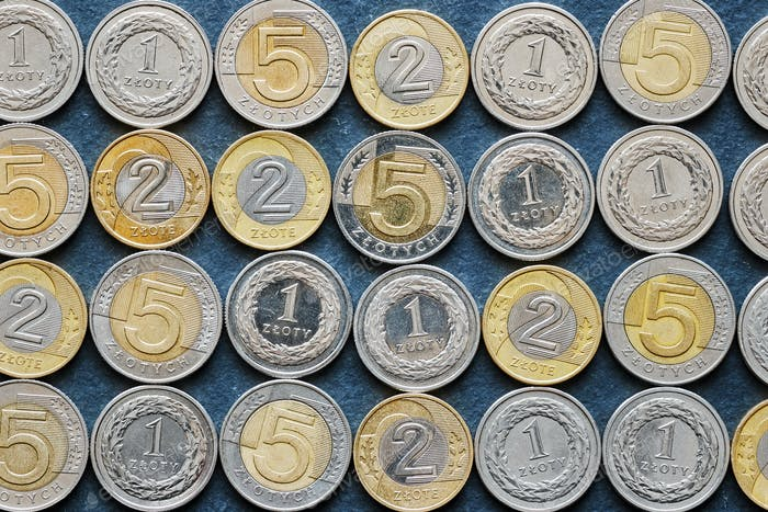 Close up picture of Polish Zloty coins.