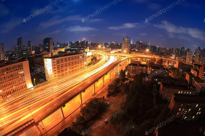 overpass at night in shanghai