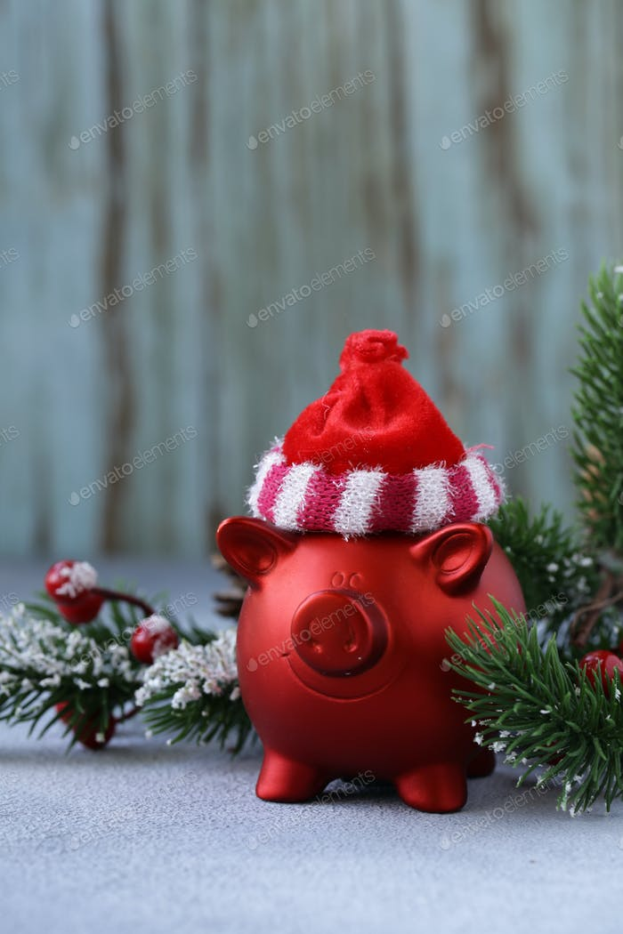 Funny Red Pig