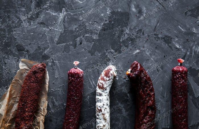 Delicious pieces of smoked sausage