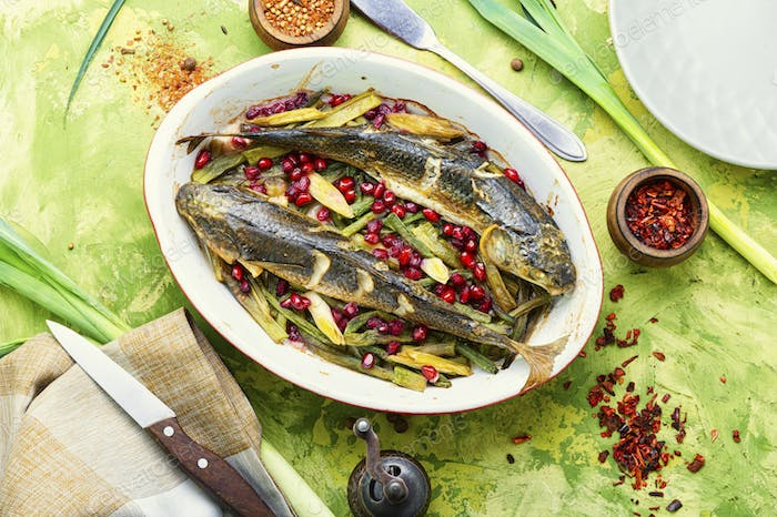 Grilled fish on tray